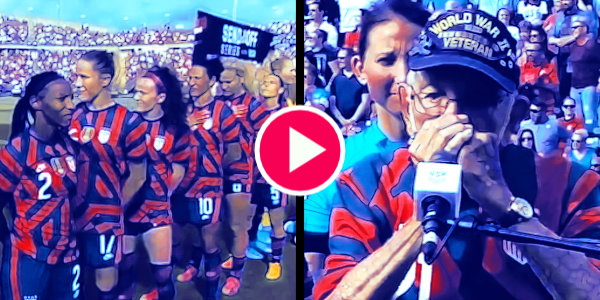 WATCH: Players of US Women's Soccer team turn their backs while 98-year-old WWII veteran Pete DuPré played the national anthem on a harmonica…